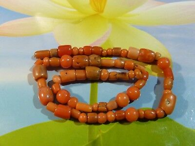 Antique Indo Tibetan [ Nepali ] Natural Red Coral Bead Strand 283 Mm Long !!!