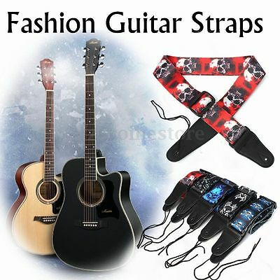 Adjustable Guitar Strap Polyester Belt Electric Acoustic Bass Skull Punk Style F