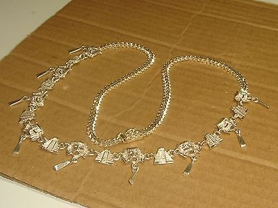 Sterling Silver necklace attached pyramid mask 925 chain link pendant PREMEX 21
