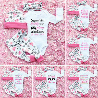 Newborn Kids Toddler Baby Girl Romper Jumpsuit Headband Pants Outfits Clothes US