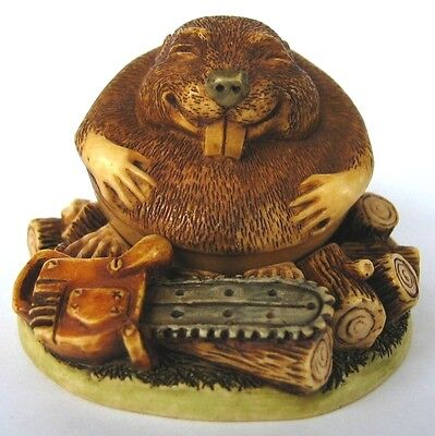 MPS Harmony Kingdom - Gigglees - Small Rocking Beaver & Chainsaw Figurine - NIB