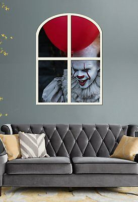 Stephen King's IT PENNYWISE the CLOWN  !!!  GIANT HALLOWEEN WINDOW VIEW  POSTER