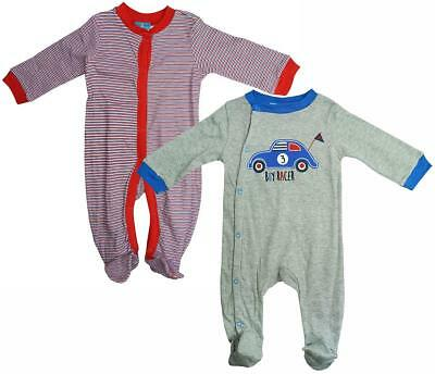 Boys Baby PACK OF 2 Boy Racer Car Sleepsuit Cotton Rompers Newborn to 9 Months