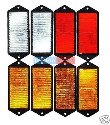 Trailer and truck reflector set rectangular screw on 2 X red 2 X white 4 X amber