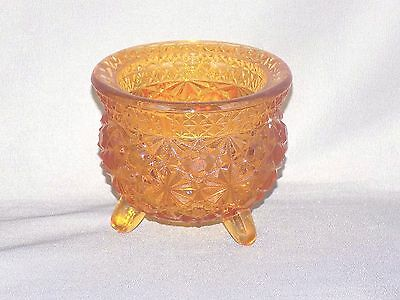 """L G Wright Amber Button & Daisy Footed Cauldron (Missing Metal Handle) 2 1/2"""""""