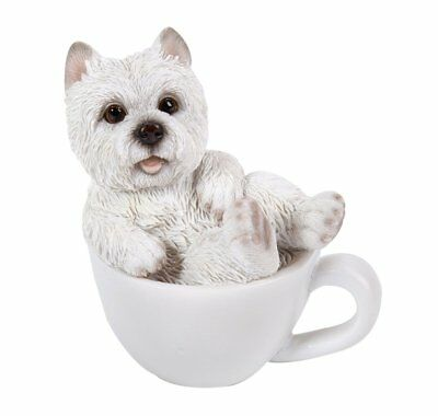 White Westie West Highland Terrier Puppy Dog Teacup Pet Pal Mini Figurine