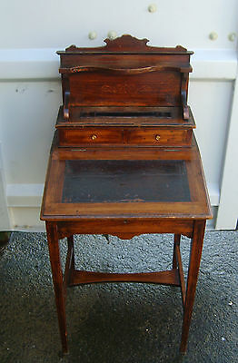 A Beautiful Inlaid Edwardian Desk with Raised Stationery Gallery!