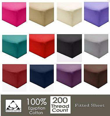Luxury 100% Cotton Fitted Sheets 200TC Single Double King & Super King