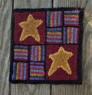 STARS SAMPLER  Beginner Primitive Rug Hooking Kit with wool fabric strips