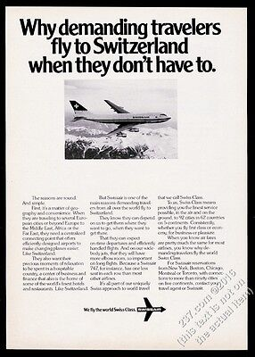 1978 Swissair airlines Boeing 747 plane flying over mountains vintage print ad