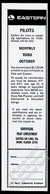 1966 Eastern Airlines pilot recruitment with qualifications vintage print ad