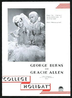 1937 George Burns Gracie Allen photo College Holiday scarce movie trade ad