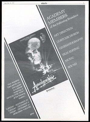 1979 Apocalypse Now Academy Award special screening movie trade ad