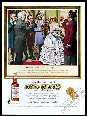 1960 Jenny Lind Henry Clay opera debut art Old Crow Bourbon whiskey print ad