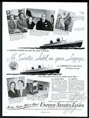 1953 SS United States ship Lord Ismay Adrian Conan Doyle photo U.S. Lines ad