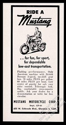 1951 Mustang Motorcycle illustrated vintage print ad