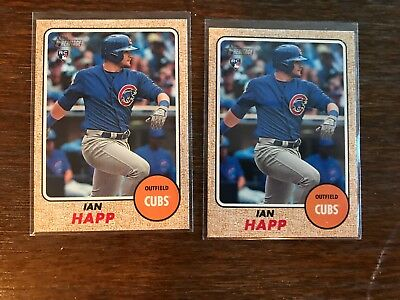 (2) IAN HAPP Rookie IN ACTION Variation SP RC LOT 2017 Heritage High