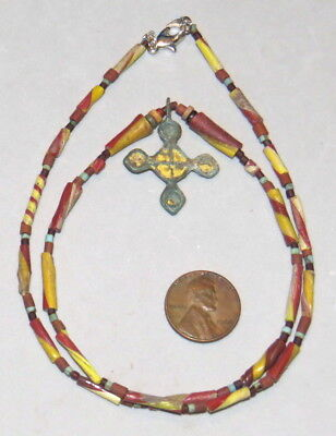 Ancient VIKING Pendant Enamel Bronze Roman Glass Beads 21""