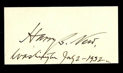 Postmaster General HARRY B. NEW Autograph - 1932