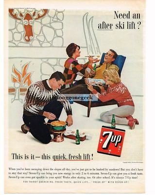 1963 7 UP Soda Skiing Ski Lodge Accident Cast Fondue Vtg Print Ad