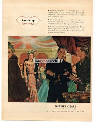 1944 Webster Cigars WW2 US Navy Lieutenant Army Officer at party Vtg Print Ad