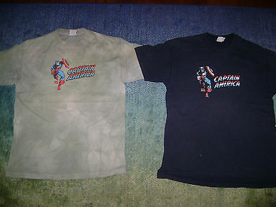 Lot of 2 Vintage Genuine Marvel Captain America T-Shirt - Men's L Large
