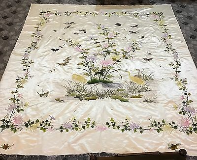 """Exceptional Antique Chinese Qing Dynasty Embroidered Bed Sheet 82"""" By 96"""" Sign"""