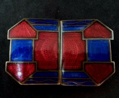 Original ART DECO DOUBLE BUCKLE Red Blue GUILLOCHE ENAMEL c.1930s (31) Geometric