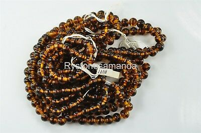 288 Vintage Japanese Hand Made Glass Bead 10mm Tortoise Color Round -V3444