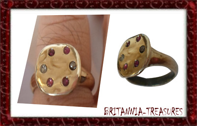 A Superb 200-400 A.d Roman Bronze  Ring With 100% Real Ruby And Diamonds..