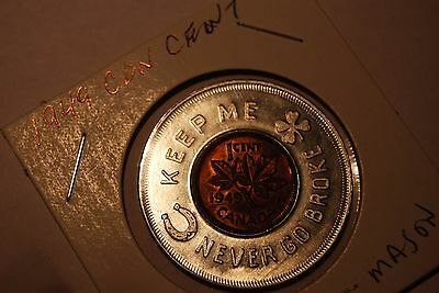 Canada 1949 Encased Cent with RED Wesley Mason Fabrics
