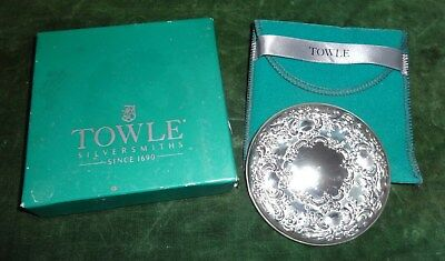 """Vintage Towle STERLING SILVER 3"""" Round Vanity Purse Pocket Mirror w Box & Pouch"""