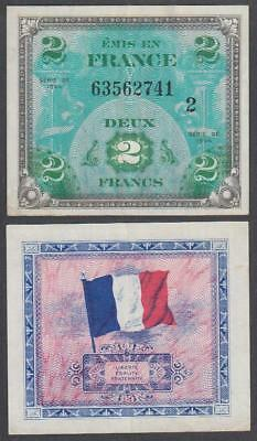 1944 WW II Allied Military Currency France 2 Francs