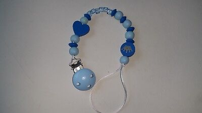 Baby Boy Blue Prince Wooden Clip-On Dummy Clip /pacifier/toy Holder Clip