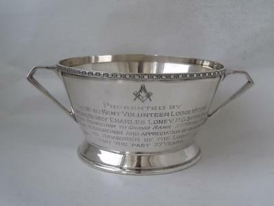 "Art Deco Solid Sterling Silver ""Masonic"" Sugar Bowl 1936/ L 16.5 cm/ 211 g"