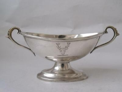 Crested Antique Solid Sterling Silver Salt Pot 1902/ L 10.3 cm