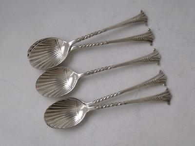 "Antique Set of 5 ""Onslow"" Shell Bowl Solid Sterling Silver Coffee Spoons 1909"