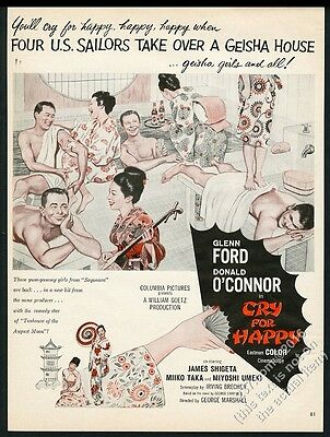 1961 Cry For Happy movie release Geisha house art vintage print ad