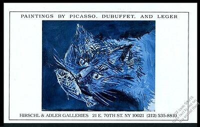 1987 blue cat with fish painting Picasso Jean Dubuffet Leger vintage print ad
