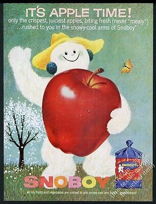 1962 Snoboy apples smiling snowman art vintage print ad