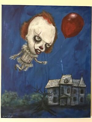GUS FINK Art ORIGINAL Painting outsider Modern Horror PENNYWISE CLOWN 2017 IT