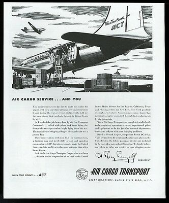 1946 Air Cargo Transport airlines plane loading art vintage print ad