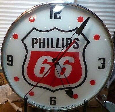 Restored Phillips 66 Lighted Pam Advertising Clock Sign Gasoline Oil Automobilia