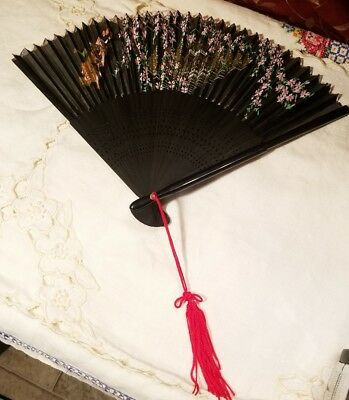 Vintage Hand Painted Pink Flowers  Black Silky Fabric Hand Fan