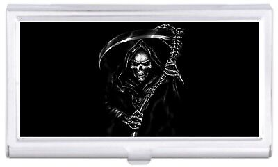 Grim Reaper Scary Creepy Business Card Case Holder Polished Finish NEW COOL!