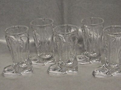 Lot of 5 Vintage Cowboy Boot Shot Glasses Country Old Western Boot Shaped