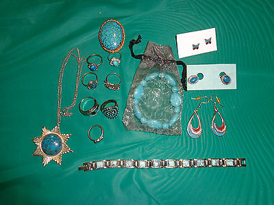 Lot of 14 Silvertone Faux Turquoise Jewelry Rings, Earrings & More