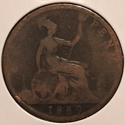 British Large Penny - 1889 - Queen Victoria - $1 Unlimited Shipping