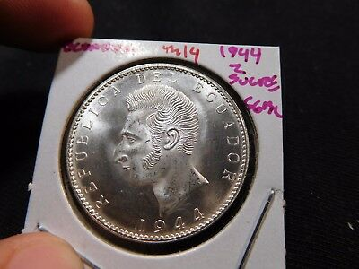 INV #Th14 Ecuador 1944 2 Sucre Superb GEM BU