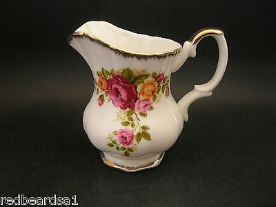 Cottage Rose Garden Vintage Bone China Milk Jug Creamer Pink Red Peach Gold Trim